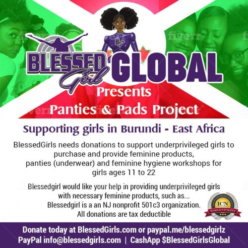 You can make a difference! Our BlessedGirl mentors are learning our mission and working with us to distribute supplies and training when working with girls in need.  The feminine products are directly given to teenage girls.  Please join us! Every donation goes towards a world where girls are not held back just because they are female.  We have reached 60% of our goal! With support we can serve 300 girls next month!